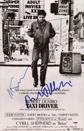 Robert De Niro & Martin Scorsese Signed Taxi Driver 11x17 Movie Poster Psa Loa