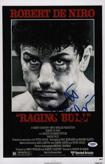 Robert De Niro Signed Raging Bull 11x17 Movie Poster Psa Coa Ad48047