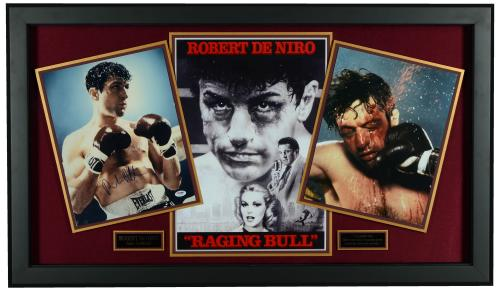 "Robert De Niro 27"" x 45"" Framed Raging Bull Collage With Autographed 11x14 Photo- PSA COA"