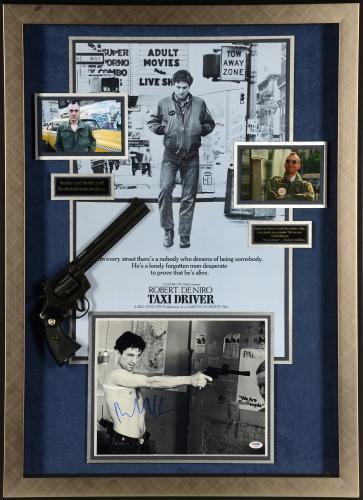 """Robert De Niro Framed Autographed 28"""" x 40"""" Taxi Driver Collage - PSA/DNA COA"""