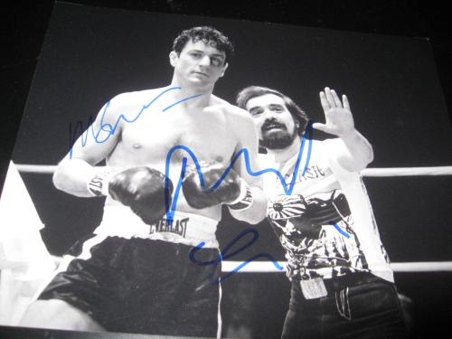 ROBERT DENIRO MARTIN SCORSESE SIGNED AUTOGRAPH 8x10 PHOTO RAGING BULL ACTION COA