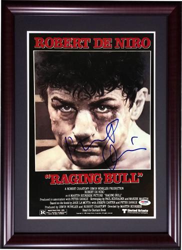 Robert DeNiro Signed Raging Bull Movie 11x17 Poster Framed Auto PSA DNA COA