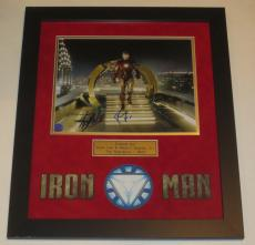 Robert Downey Jr Stan Lee Signed 11x14 Photo Iron Man Professionally Framed Psa