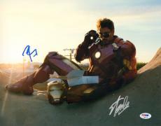 "ROBERT DOWNEY JR & STAN LEE Signed ""IRON MAN"" 11x14 Photo PSA/DNA #AB97120"