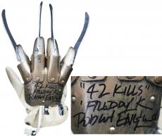 "Robert Englund ""42 Kills, Freddy"" Signed Deluxe Freddy Krueger Glove BAS Witness"