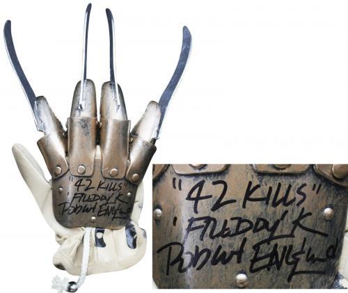 "Robert Englund ""42 Kills, Freddy"" Signed Deluxe Freddy Krueger Glove BAS Witness"