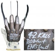 "Robert Englund ""42 Kills"" Signed Metal Freddy Krueger Glove BAS #I64447"