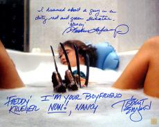 "Robert Englund ""Freddy Krueger"" & Heather Langenkamp ""Nancy"" Signed Bathtub 16x20 Photo ""I'm your Boyfriend Now Nancy"" & ""I Dreamed About a Guy In a Green and Red Sweater"" Inscription"