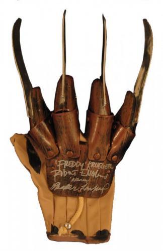 """Robert Englund """"Freddy Krueger"""" & Heather Langenkamp """"Nancy"""" Signed Plastic Blades Glove"""