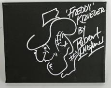 "Robert Englund ""Freddy Krueger"" Signed 8x10 Canvas Original Sketch BAS #I64616"