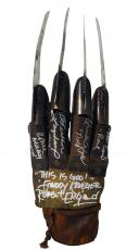 "Robert Englund, Heather Langenkamp, Ronee Blakley, Amanda Wyss & Nick Corri Nightmare On Elm Street Cast Autographed Freddy Krueger ""This Is God"" Metal Glove"