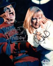 ROBERT ENGLUND & LISA WILCOX DUAL SIGNED 8x10 PHOTO FREDDY KRUEGER BECKETT BAS