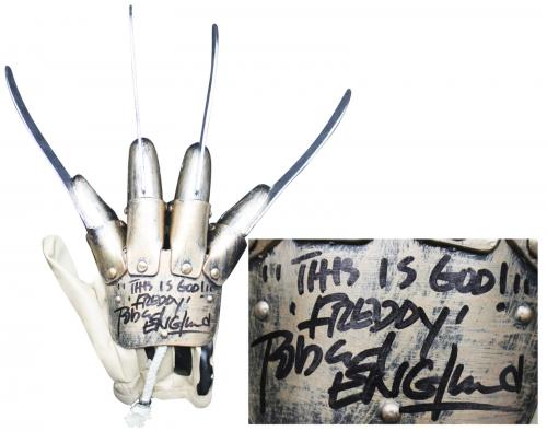"""Robert Englund """"This Is God, Freddy"""" Signed Deluxe Freddy Krueger Glove BAS 1"""