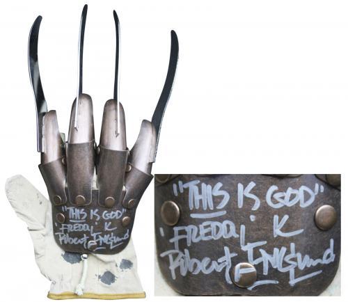 "Robert Englund ""This Is God, Freddy"" Signed Metal Freddy Krueger Glove BAS"
