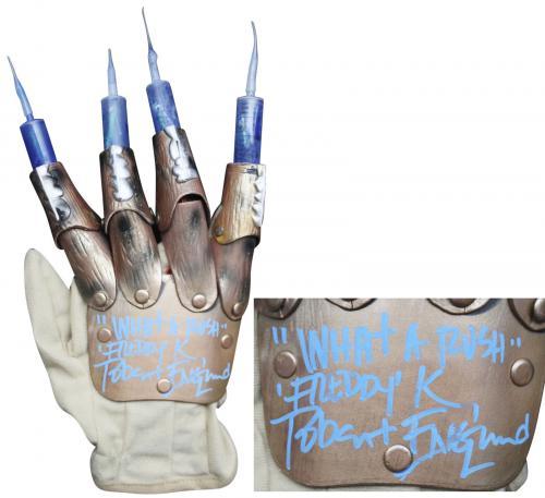 "Robert Englund ""What A Rush, Freddy"" Signed Freddy Krueger Needle Glove BAS"