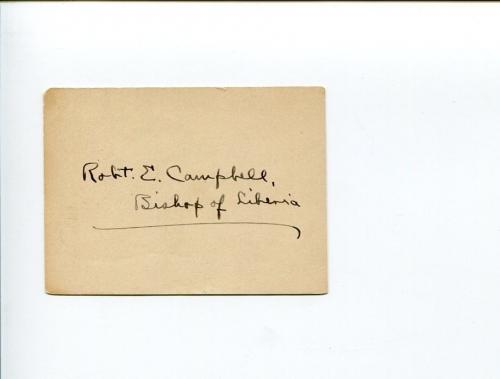 Robert Erskine Campbell  Missionary Bishop of Liberia Clergy Signed Autograph