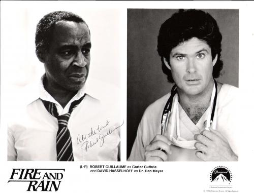 """ROBERT GUILLAUME """"FIRE AND RAIN"""" Signed 10x8 B/W Photo"""
