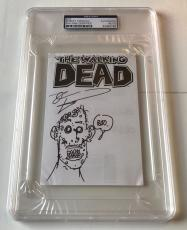 "Robert Kirkman Signed Original Sketch THE WALKING DEAD Zombie ""BOO"" 4x6 PSA/DNA"