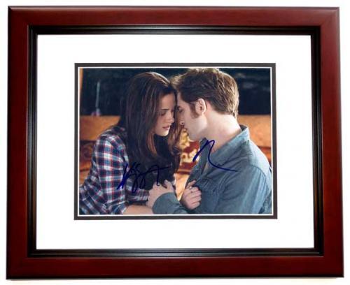 Robert Pattinson and Kristen Stewart Signed - Autographed TWILIGHT 8x10 inch Photo MAHOGANY CUSTOM FRAME - Guaranteed to pass PSA or JSA
