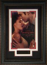 Robert Pattinson signed Twilight: Breaking Dawn- Part 1 22X30 Masterprint Poster Leather Framed 2 sig (movie/entertainment/photo