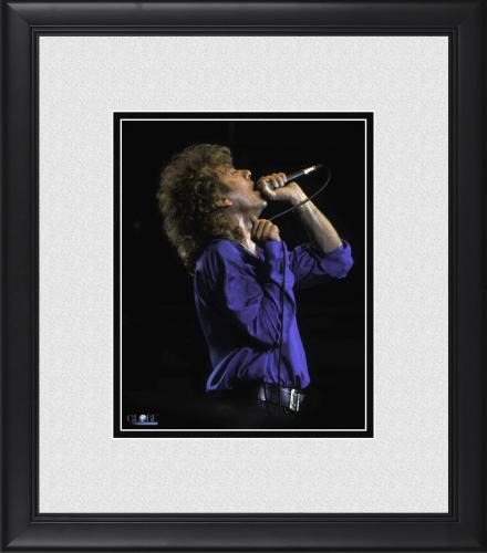 "Robert Plant Led Zeppelin Framed 8"" x 10"" Performing in Blue Shirt Photograph"