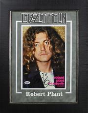 Robert Plant Led Zeppelin Signed & Framed 8.5x11 Magazine Photo PSA/DNA #AB81478