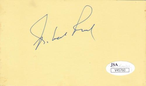 ROBERT REED Signed d. 1992  3x5 Index Card (Brady Bunch) JSA V45760