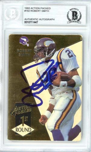 Robert Smith Autographed 1993 Action Packed Rookie Card Vikings Beckett 10711447