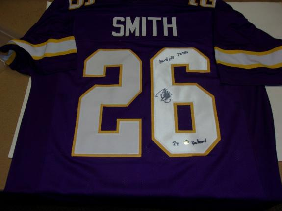 Robert Smith Minnesota Vikings With Stats Smith/holo Signed Jersey