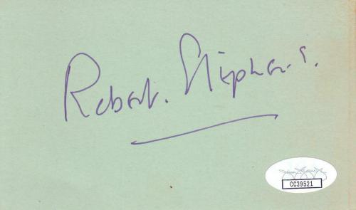 ROBERT STEPHENS d 1995 Signed 3x5 Index Card Actress/Sherlock Holmes JSA CC39521