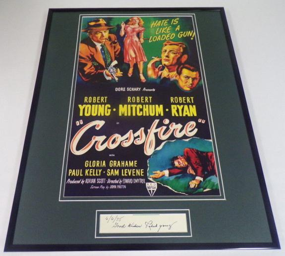 Autographed Robert Young Photograph - Framed 16x20 Crossfire Poster Display