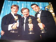 Robin Williams Ben Affleck Matt Damon Cast Signed Autograph 8x10 Oscar Trophy D