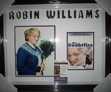 "Robin Williams ""mrs. Doubtfire"" Signed Dvd Cover Double Matted & Framed Jsa Coa"
