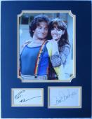 Robin Williams & Pam Dawber Signed Authentic Mork & Mindy Matted Piece PSA/DNA