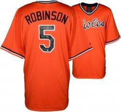 Brooks Robinson Baltimore Orioles Autographed Orange Throwback Jersey with HOF 1983 Inscription