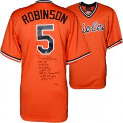 Brooks Robinson Baltimore Orioles Autographed Orange Throwback Jersey with Multiple Inscriptions - #1 of a Limited Edition of 24 - Mounted Memories