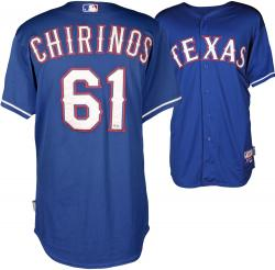 Robinson Chirinos Texas Rangers Game Used Blue Jersey from 4/8/14 vs Boston Red Sox