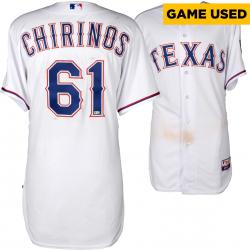 Robinson Chirinos Texas Rangers Game-Used White Jersey from 4/28/14 vs. Oakland Athletics