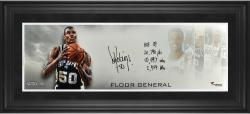 "David Robinson San Antonio Spurs Framed Autographed 10"" x 30"" Floor General Photograph with Multiple Inscription-Limited Edition of 12"