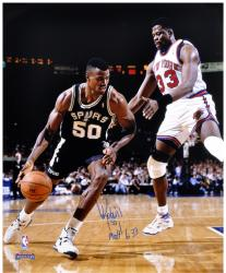 "David Robinson San Antonio Spurs Autographed 16"" x 20"" vs Patrick Ewing Photograph"