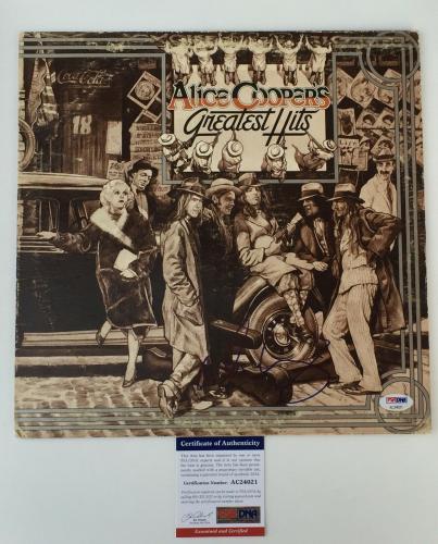 ROCK AND ROLL HOF!!! Alice Cooper Signed GREATEST HITS LP Album PSA/DNA