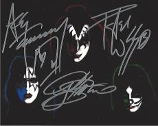 "ROCK BAND ""KISS"" Signed by PETER CRISS - DRUMS & VOCALS, GENE SIMMONS - BASS & VOCALS, and ACE FREHLEY - LEAD GUITAR & VOCALS 10x8 Color Photo"