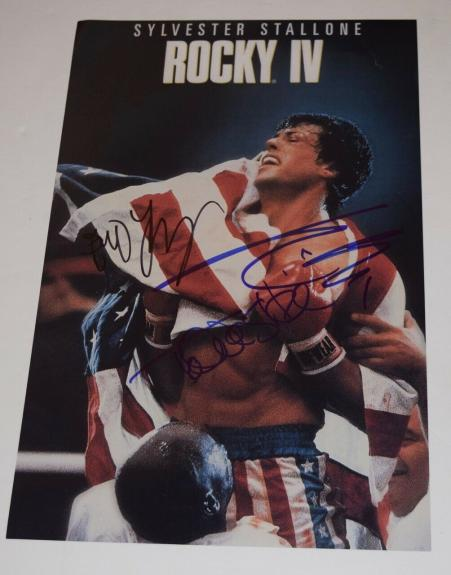 ROCKY IV Cast Signed Autographed 11x17 Poster Sylvester Stallone Shire Young COA