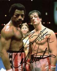 Rocky Sylvester Stallone Carl Weathers Signed Autographed 8x10 Photo PSA/DNA