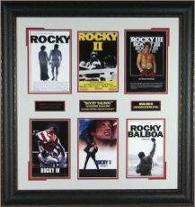 Rocky unsigned 6 Mini Rocky I-VI Movie Posters Premium Leather Framed 30x28 (Sylvester Stallone) (entertainment boxing photo)