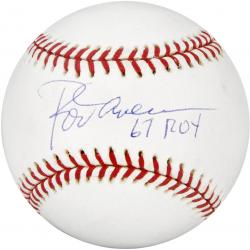 Rod Carew Autographed Baseball with 67 ROY Inscription - Mounted Memories