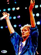 "Rod Stewart Autographed 8""x 10"" Arms in Air Photograph With Blue Ink- BAS COA"