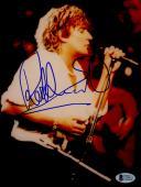 "Rod Stewart Autographed 8""x 10"" White Jacket Singing Photograph - BAS COA"