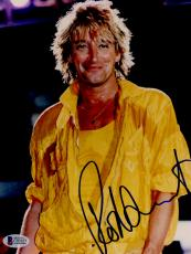 "Rod Stewart Autographed 8""x 10"" Yellow Jacket Smiling Photograph - BAS COA"