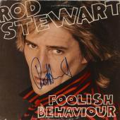 Rod Stewart Autographed Foolish Behaviour Album Cover - PSA/DNA COA